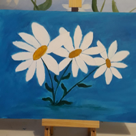 Three Large Daisies, original acrylic painting on canvas board