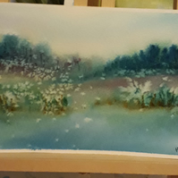 Original Watercolour painting countryside water - Folksy