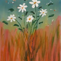 Original acrylic on canvas board, Daisies in the wild red grasses