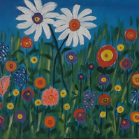 Daisies in the Meadow acrylic painting on stretched canvas