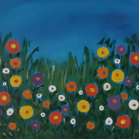 Flowery Meadow, acrylic painting on stretched canvas