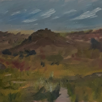 The Hill, original impressionist oil painting on double primed canvas