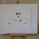 Two Become One original fine point pen drawing with white mount ready to frame