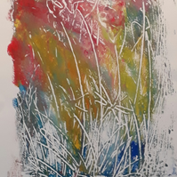 Reeds at waters edge No.1 original acrylic on heavyweight smooth artist paper