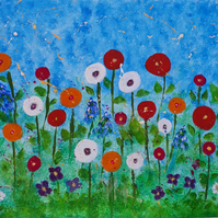 Flowers, Original acrylic painting on canvas board approx 12 x 16 inches