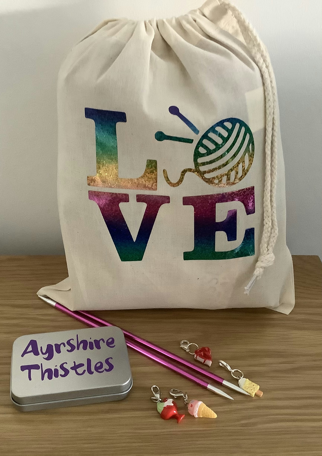 """LOVE"" Drawstring Sack knitting storage gift FREE UK Postage"