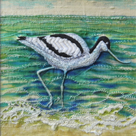 Avocet - Original Embroidery Collage