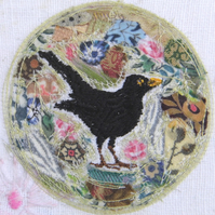 Blackbird Roundel - Original embroidery Collage