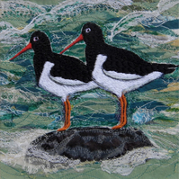 Oystercatchers - Mounted Original Embroidery Collage