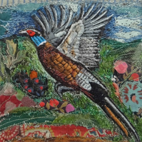 Flying Pheasant - Original Embroidery Collage