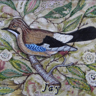 Jay - Original Embroidery Collage