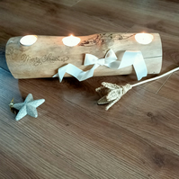 Rustic Christmas tealight wooden Oak log