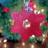 Cherry red Christmas ornaments snowflake