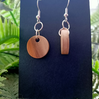 Circle round wooden yew earrings silver earrings silver jewellery