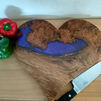 Wooden food board. Love heart wood and resin chopping board cake charcuterie