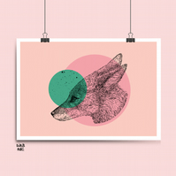 Pink and Mint Green Colour Block Fox Print- A3