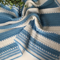 Blue and White Crochet Baby Blanket, Pram, Cot Blanket, Baby Gift