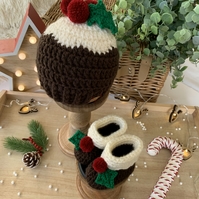 Crochet Christmas Pudding Beanie & Bootie Set