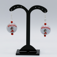 Earrings made from old recycled bottle tops.  Tropical, Hawaiin. White and red