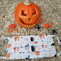 Halloween Adult face covering – Multi Cats print