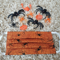 Halloween Child face covering – Orange Spider print