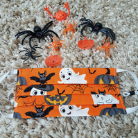 Halloween Child face covering – Orange Ghost and Bat print