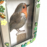 Little fabric robin picture framed in a tin, gift, stocking filler, ornament