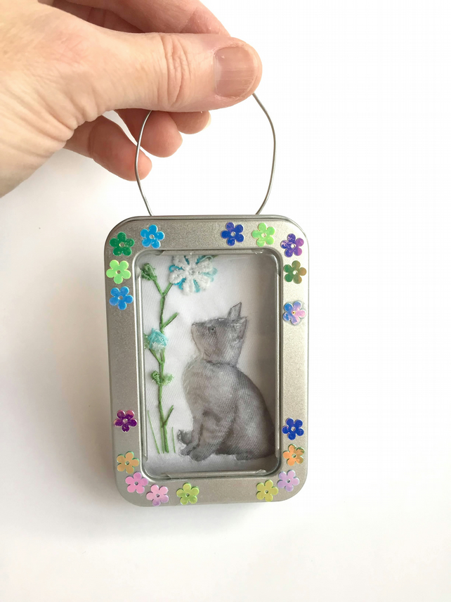 Little fabric cat picture framed in a tin, gift, stocking filler, ornament