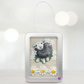 Sheep, fabric sheep picture, framed in a tin