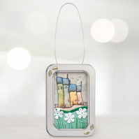 A little tin of country cottages, ornamet, textile art, gift