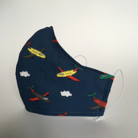 Cotton Face Mask - reusable with filter pocket, aeroplanes, medium
