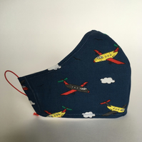Cotton Face Mask - reusable with filter pocket, aeroplanes, small