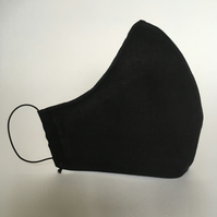 Cotton Face Mask - reusable with filter pocket, black, small