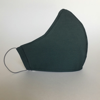 Cotton Face Mask - reusable with filter pocket, teal, small