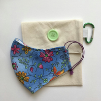 Face mask pouch, bag, storage, washable in mint green (small - medium)