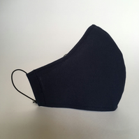Cotton Face Mask - reusable with filter pocket, navy, small