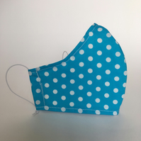 Cotton Face Mask - reusable with filter pocket, bright blue polka dot, small
