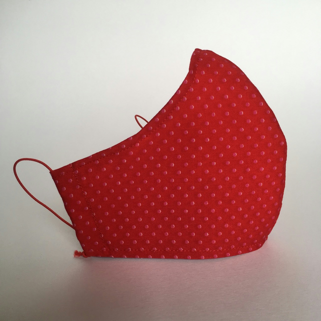 Cotton Face Mask - reusable with filter pocket, red pink polka dot, small