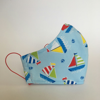 Cotton Face Mask - reusable with filter pocket, colourful sailboat, small