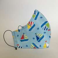 Cotton Face Mask - reusable with filter pocket, colourful sailboat, large