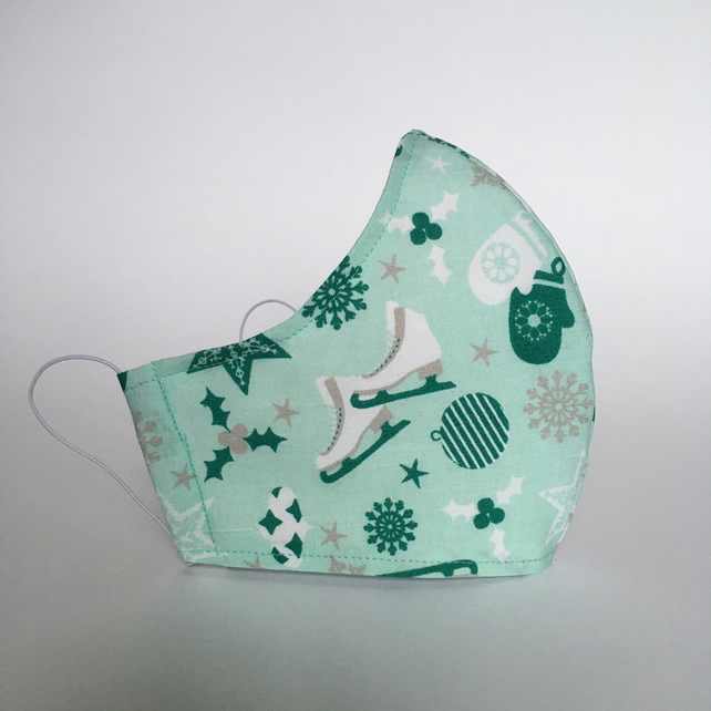 Cotton Face Mask - reusable with filter pocket, ice skate mint, medium