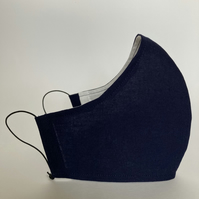 Cotton Face Mask - reusable with filter pocket, navy, large