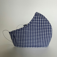 Cotton Face Mask - reusable with filter pocket, navy gingham, small