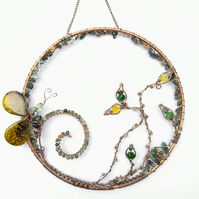 Butterfly gemstone suncatcher, wire wrapped metal wall art