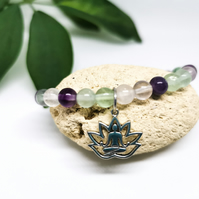 Fluorite beaded gemstone stretch bracelet