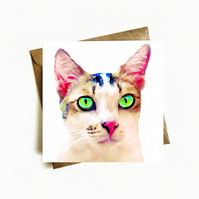 Cat Birthday Card, Beautiful Eyes