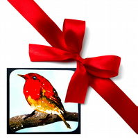Christmas Robin Coaster; High Gloss Finish; Wonderful Colours