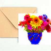Colourful Flowers in a Vase Greeting, Birthday Card