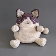 Cat-Shaped Doorstop in Heather and Cream - Made to Order