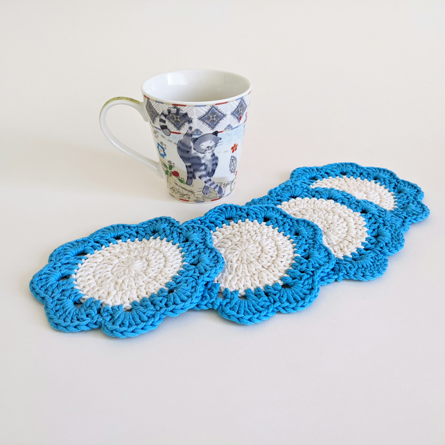 Set of Four Drinks Coasters Mug Rugs in Blue